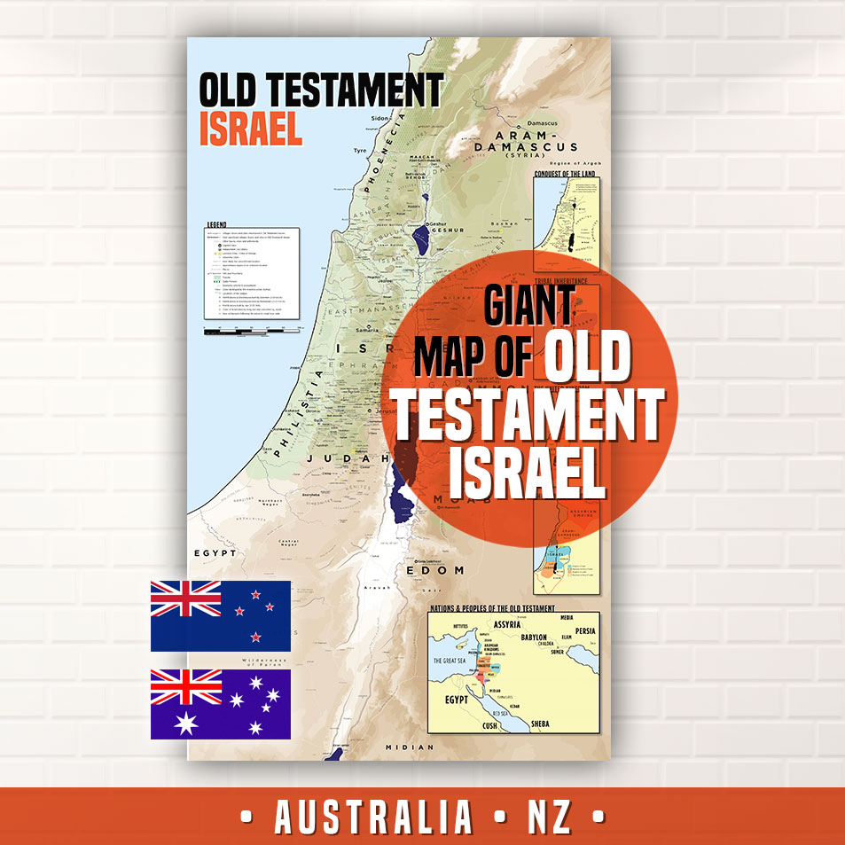 Poster Map Of Old Testament Israel For Australasian Customers - Map of old testament israel