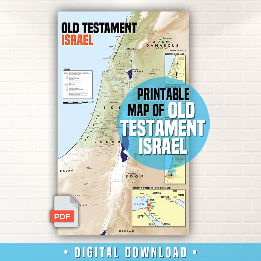 Printable PDF Map of all the Places in Old Testament Israel on aerial view of biblical israel, 10 years in israel, biblical lands of israel, printable outline map of israel, elevation of jerusalem israel, geography of biblical israel, original boundaries of israel, printable map of modern israel, old testament maps of israel, printable map of israel today, topological map israel,